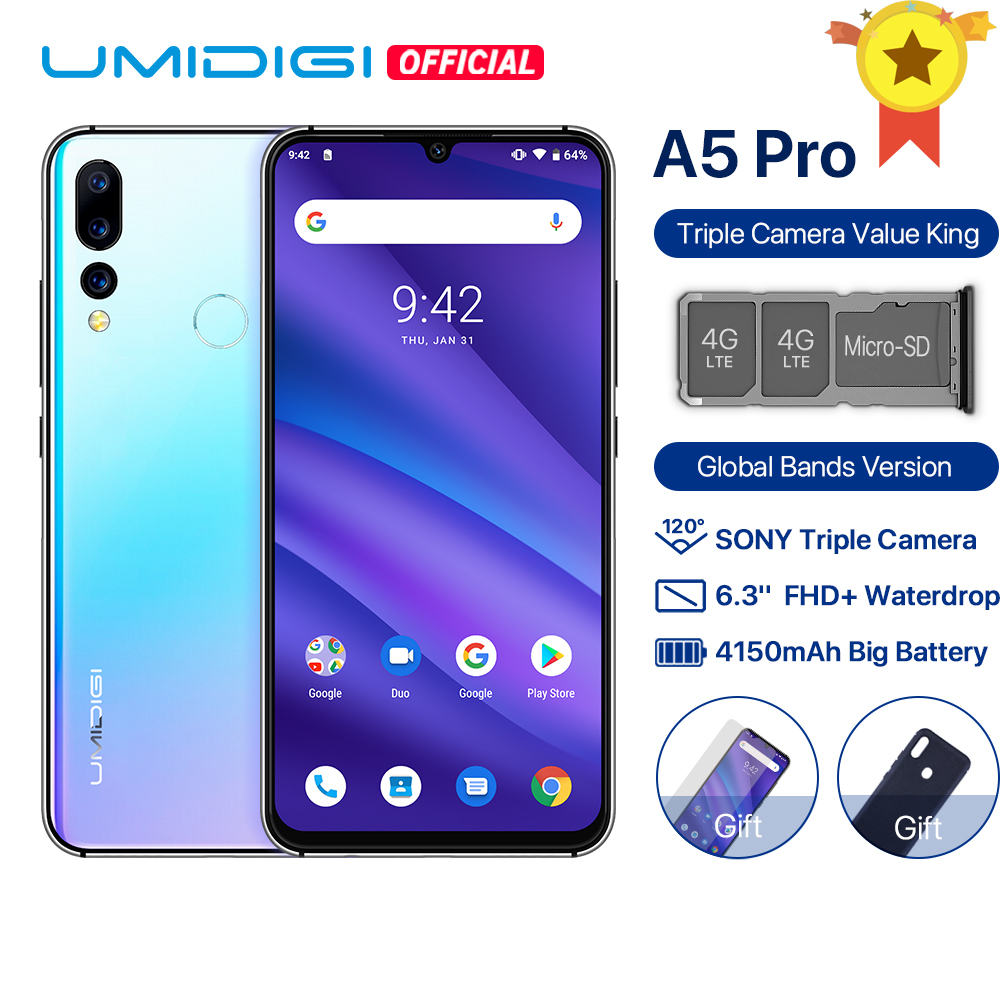 UMIDIGI A5 PRO Android 9,0 Global bandas 16MP Triple Cámara Octa Core 6,3 'FHD + gota de agua pantalla 4150mAh teléfono Móvil de 4GB + 32GB LEAGOO potencia 2 2GB 16GB teléfono móvil Android 8,1 de 5,0
