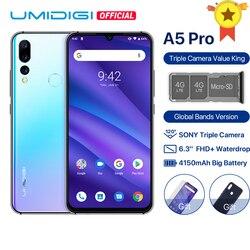 Umidigi a5 pro android 9.0 faixas globais 16mp triplo câmera octa core 6.3 ffhd + waterdrop tela 4150 mah 4 gb + 32 gb telefone móvel