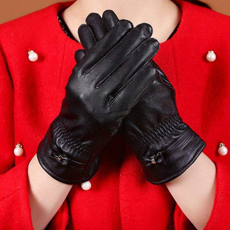 DirectKUYOMENS Selling 2018 Gloves For Women Wrist Lace Genuine Leather Glove Fashion Lady Goatskin Winter Driving