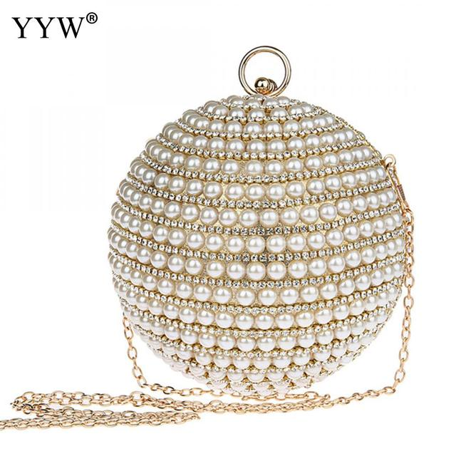 Fashion Design Hand made Luxury Pearl Clutch bags with Rhinestone Women  Round Handbag Ladies Party Purse Paisley style