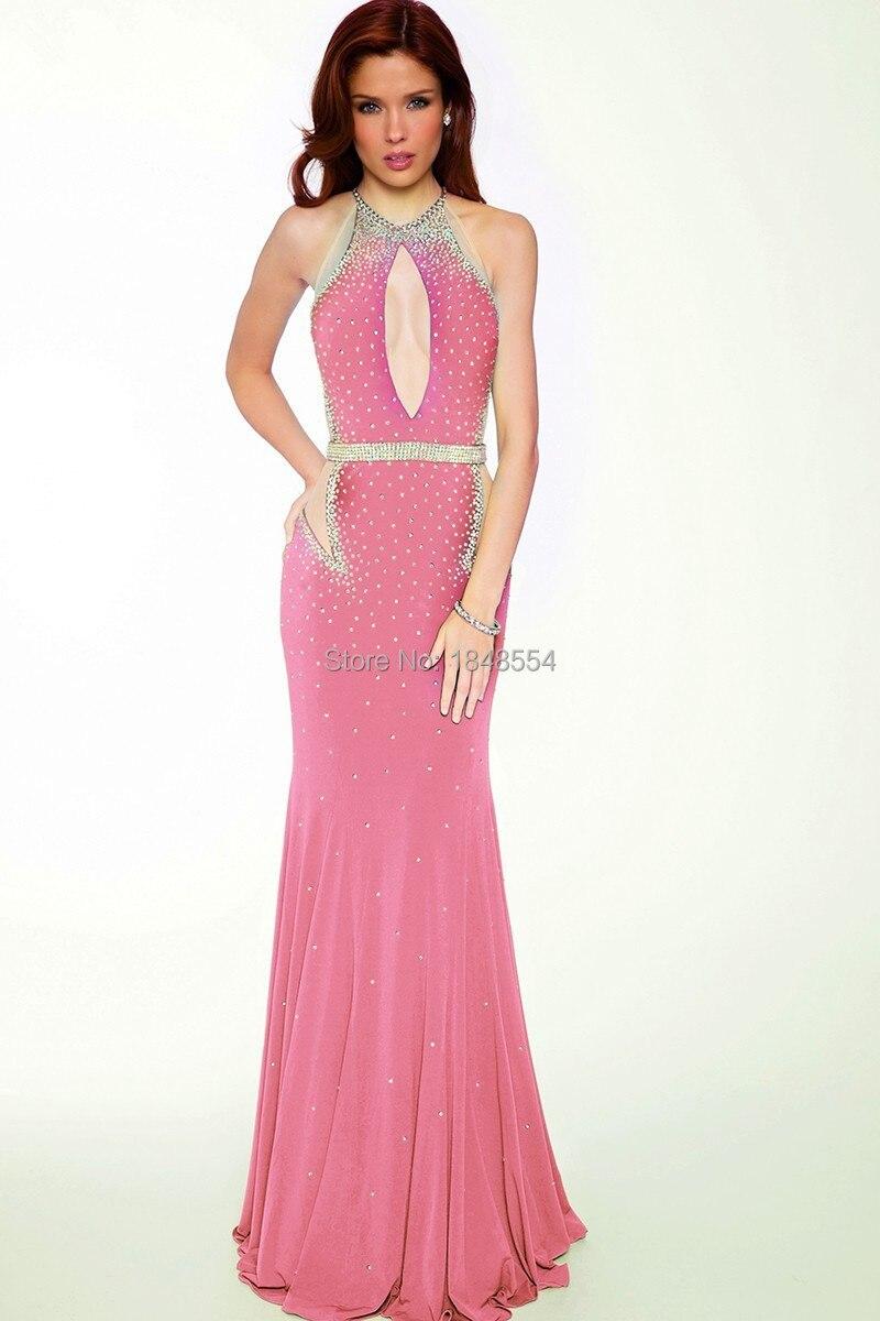 MZYE0279 atado al cuello vestido de fiesta moldeado pesado vestido ...