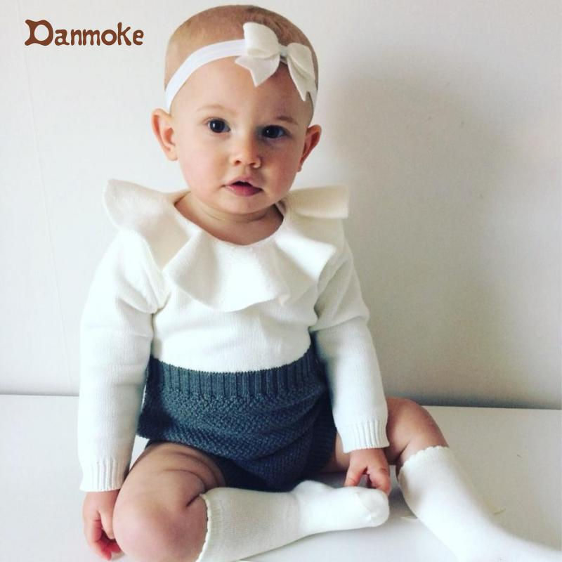 93a8fc33fb2 Danmoke Boys Infant Rompers Baby Girls long sleeve jumpsuits Ruffles ...