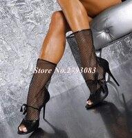 Сексуальная черная сетка ботинки до середины икры для Для женщин открытый носок черный змеиной кожи на ночь Blub Туфли под платье Носок Женск