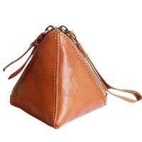 2018 New Triangle Real Genuine Leather Coin Purses Holders Women Small Wallet Purse Handmade Mini Cute Wristlet Handbag Pocket