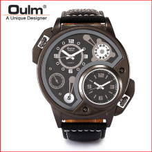 Military Sport Quartz Watch Leather strap Round Dial Famous brand luxury Clock Men's Wristwatch relogio masculino male Oulm 3578