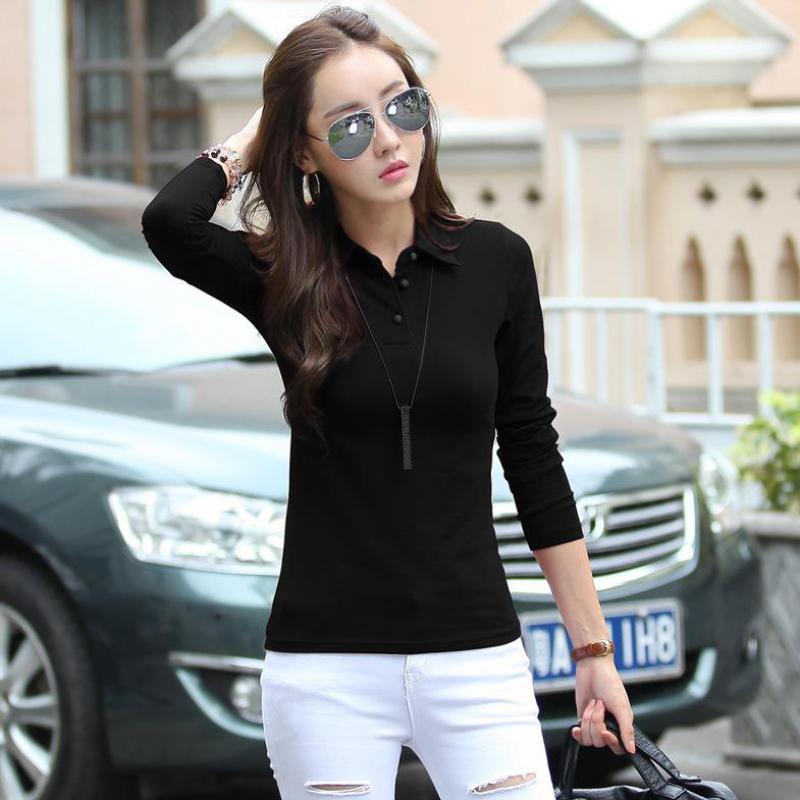 blusa feminino polo button down shirts plain black polos shirt ...