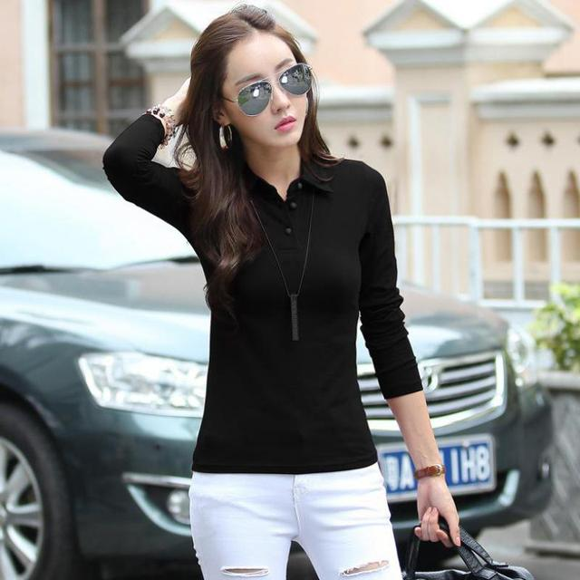 blusa feminino polo button down shirts plain black polos shirt plain tops  polos femme women long sleeve Women Polo Neck