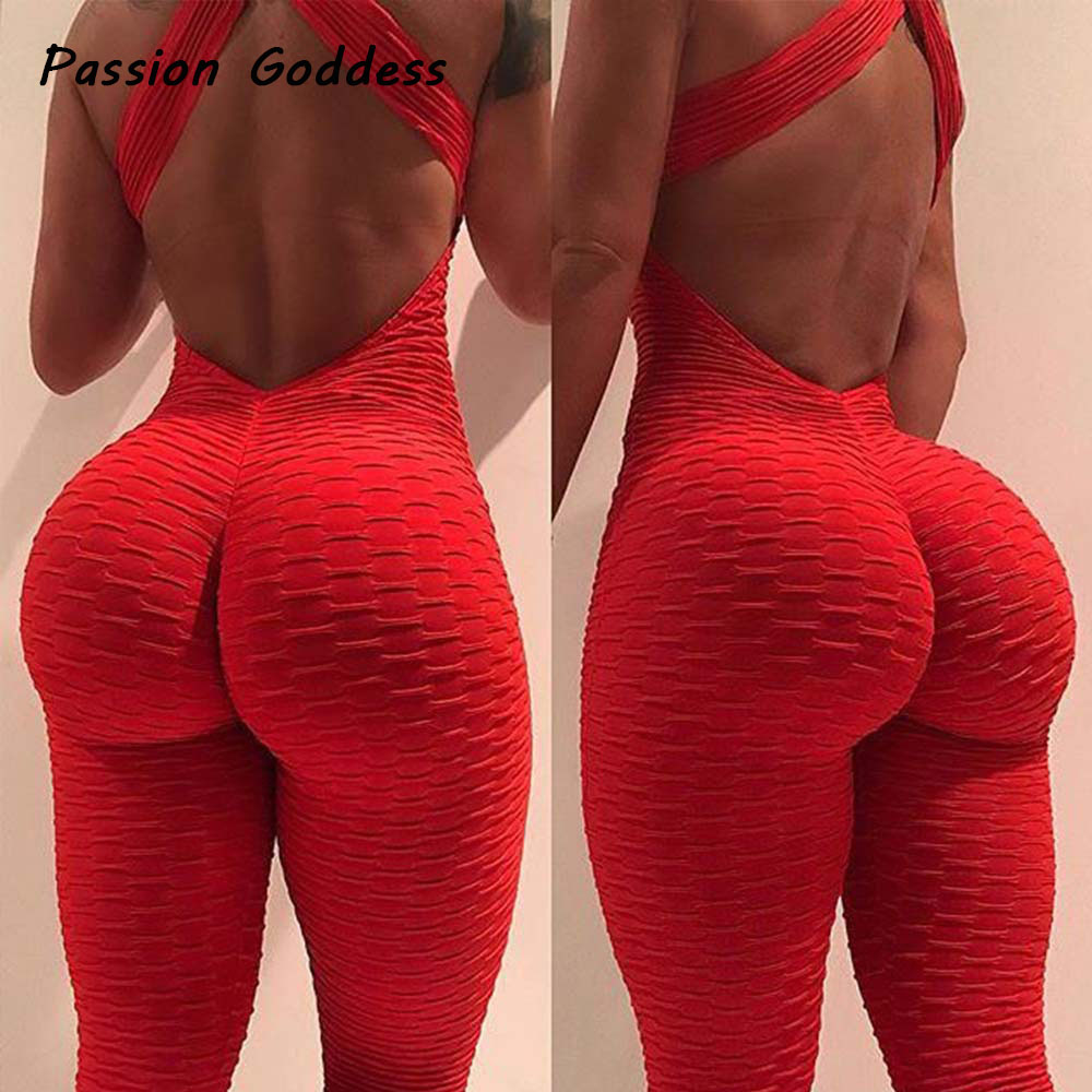 2018 Sexy Women Jumpsuits Women Jacquard Macacao Rompers Push Up Jumpsuit Backless Bandage Elastic Tracksuit Jumpsuit Overalls