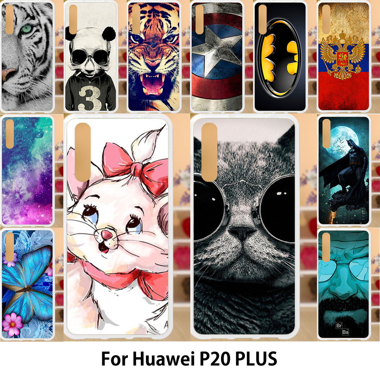 Anunob For huawei p20 case Silicone TPU Soft Back Covers huawei p20 pro p20 plus Painted Cute Cats Cartoon Patterned Housings