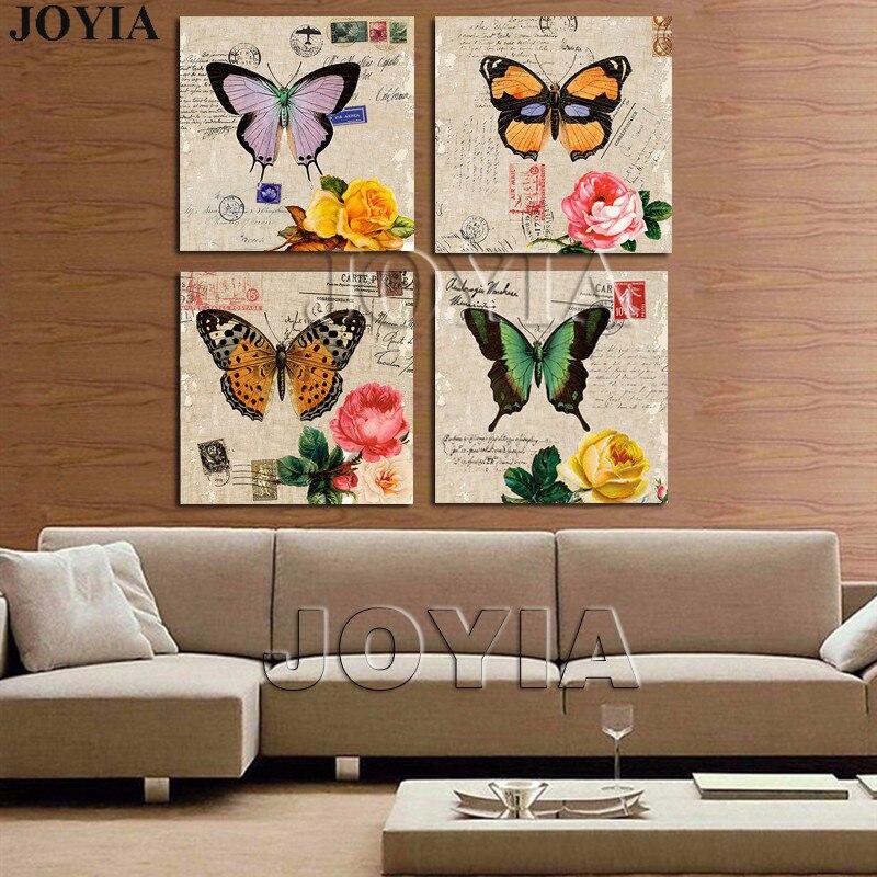 4ชิ้นจิตรกรรมวาดคลาสสิกผนังศิลปะรูปภาพสีผีเสื้อพิมพ์ดอกกุหลาบสำหรับห้องนอนสำนักงานตกแต...