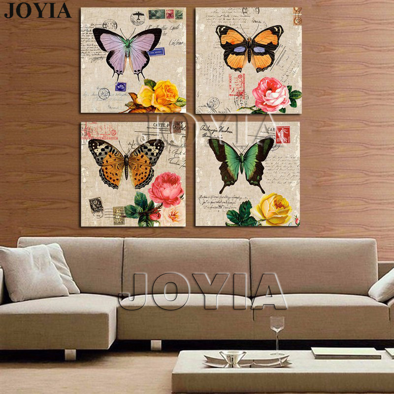 4 Piece Painting Drawing Classical Wall Art Picture Color Butterfly Rose Prints For Bedroom Office Decor 12x12 Inch No Frame
