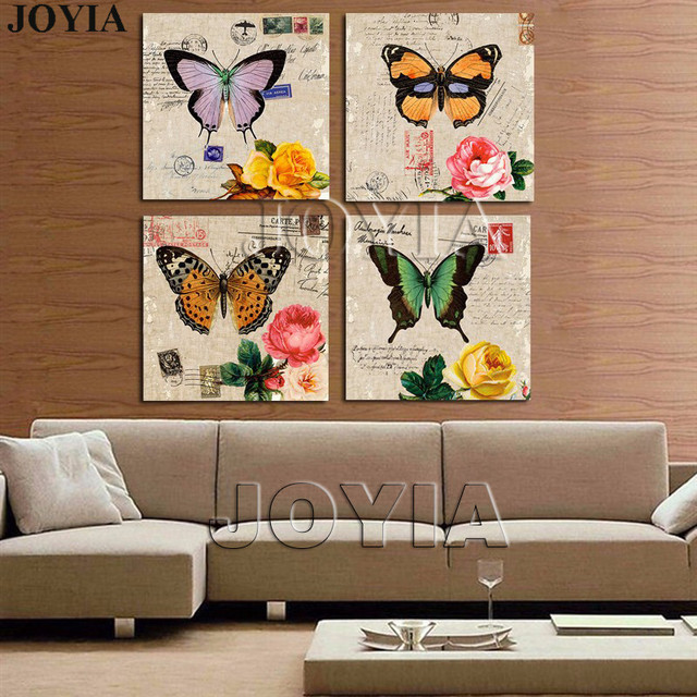 4 Piece Painting Drawing Classical Wall Art Picture Color Butterfly Rose Prints For Bedroom Office Decor
