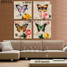 4 Piece Painting Drawing Classical Wall Art Picture Color Butterfly Rose Prints For Bedroom Office Decor 12x12 inch No Frame(China)