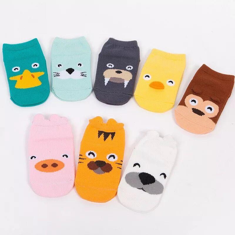 AiKway 0-2 Years Old Boys And Girls Cotton Cartoon Socks Children Animal Socks Newborn Anti-slip Socks Floor Socks