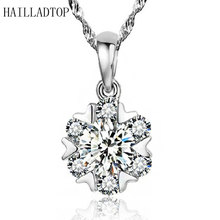 Top Trendy Silver Plated Snowflake Pendant Necklaces Luxury Crystal Wedding 64 Faces Shining Quartz Bling Jewelry for Women