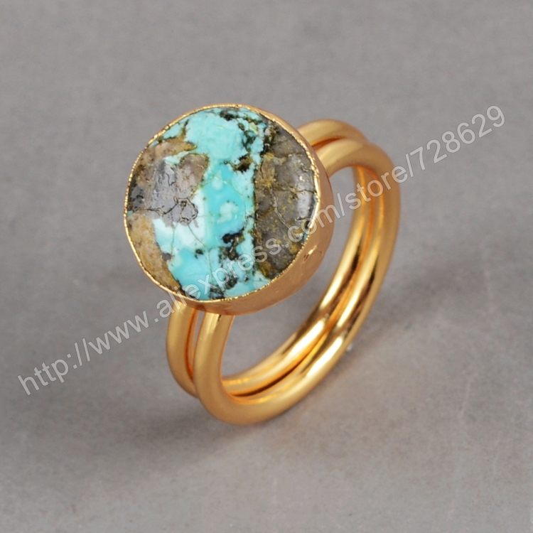 100 Natural Turquoise Ring Geometric Golden Electroformed Gold