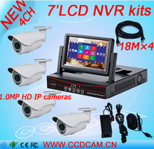 "4CH 720P NVR With 7"" LCD monitor 4pcs 1.0megapixels Outdoor Weatherproof IP Camera P2P Surveillance system 4ch CCTV  NVR Kit"