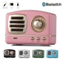 JQAIQ Portable Bluetooth Speaker Retro Mini Wireless Radio USB/TF Card Music Player HIFI Subwoofer