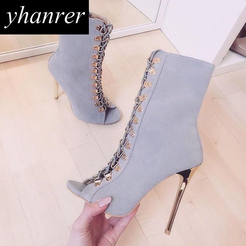 2018 New Women's Lace Up High Heels Slingbacks Flcok Peep Toe Pumps Thin Heels Rome Rivet Shoes Heeled 12cm Size35-40 Y174