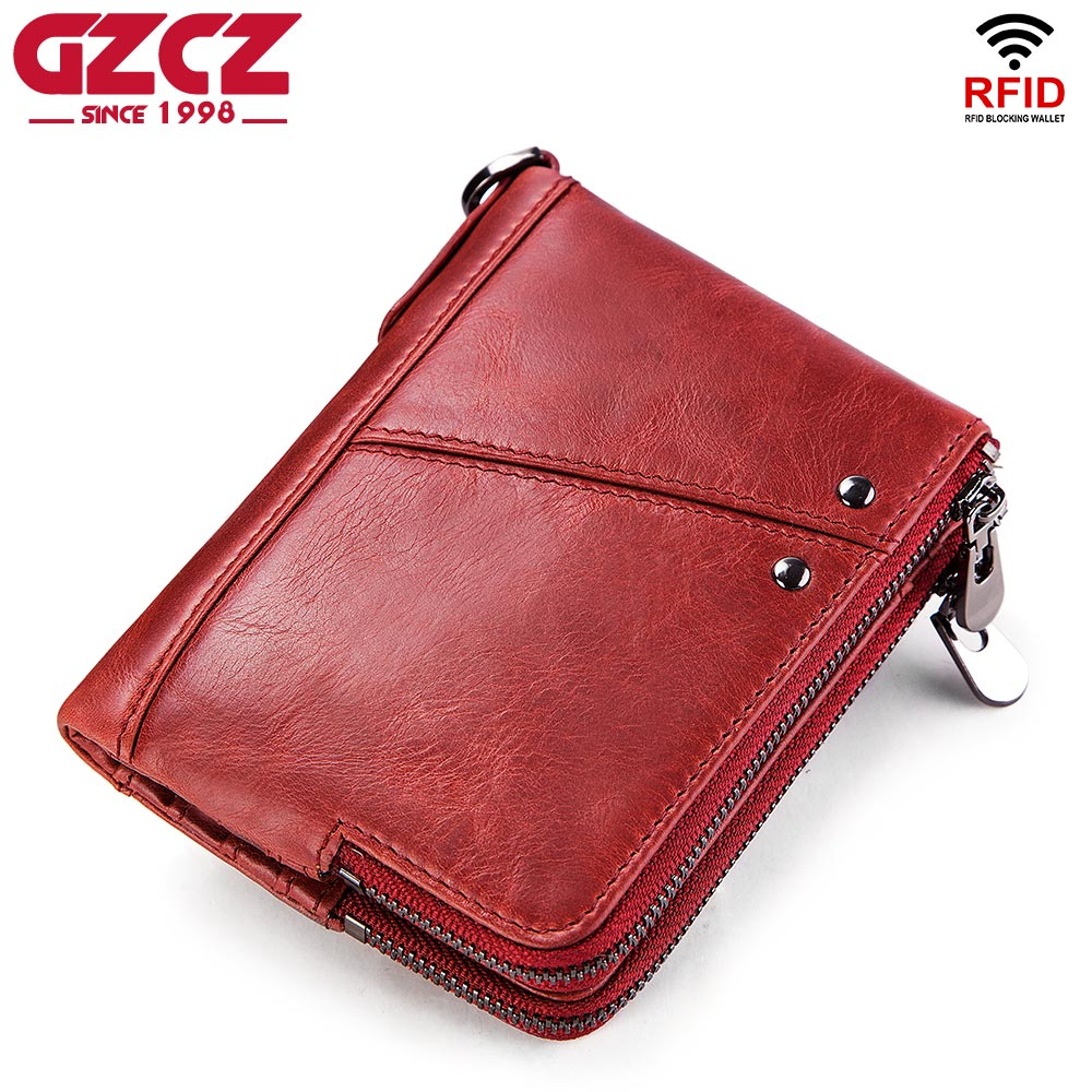GZCZ Hot Sale Women Organizer Wallet Genuine Leather Wallets Female Short Walet Double Zipper Purse With Coin Bags For Card RFID hot sale women wallet plaid long wallets double zipper change purse portable cash purse multifunctional mobile bags