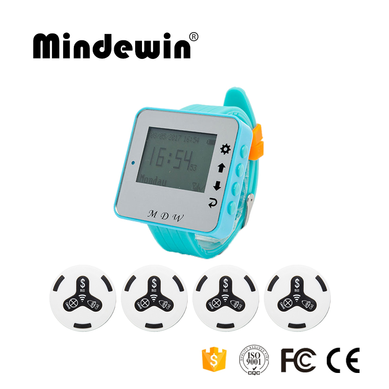 Mindewin Wireless Waiter Calling System 10PCS Call Buttons M-K-3 and 1PCS Receiver Wrist Watch Pager Wireless Call Bells цена
