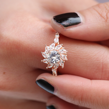 Silver 925 ring gold Diamond valentine Sun flower zircon rose vintage jewelry Indian Jewelry Costume stainless B2553