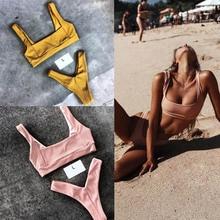 Swimwear Women Pink In Bikini Set 2017 Halter Girls Padded Bikinis Set Ladies Low Waist Yellow Swimsuit Maillot De Bain Biquini