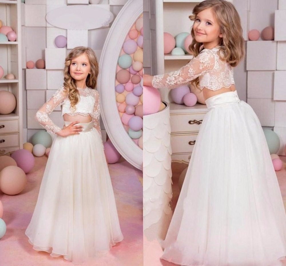 Two Piece Flower Girls Dress Birthday Party Gown Pageant Princess Communion Gown girl party dress ball gown sky blue open back with long train ruffles tiered crystals flower girl dress party birthday evening party pageant gown