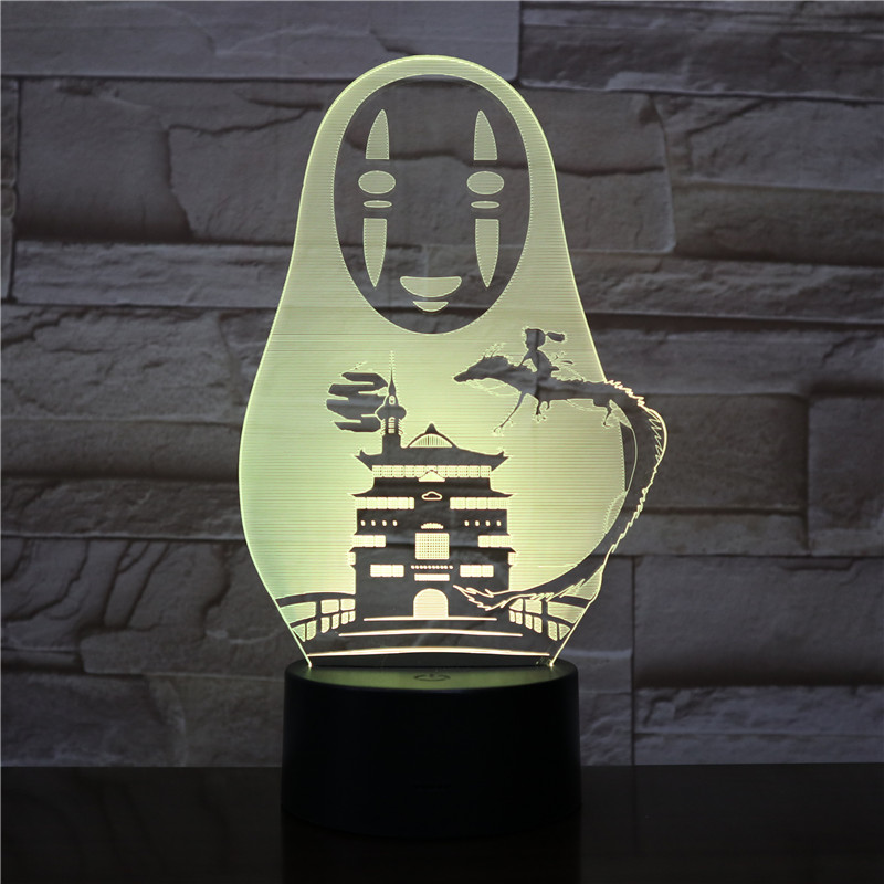 USB 3D LED Night Light No Face Man Figure Decoration Boys Child Kids Baby Gifts Japanese Anime Spirited Away Table Lamp Bedside