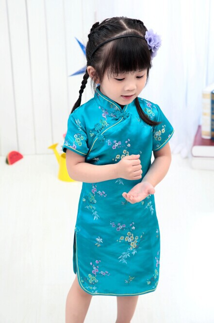 Blue Floral Baby Girls summer Dress Kid Chinese Style chi-pao cheongsam New Year gift Children's Clothes Princess Party Costumes 2017new chinese traditional baby girls chi pao cheongsam red dress new year gift children clothes kids embroidery party dresses
