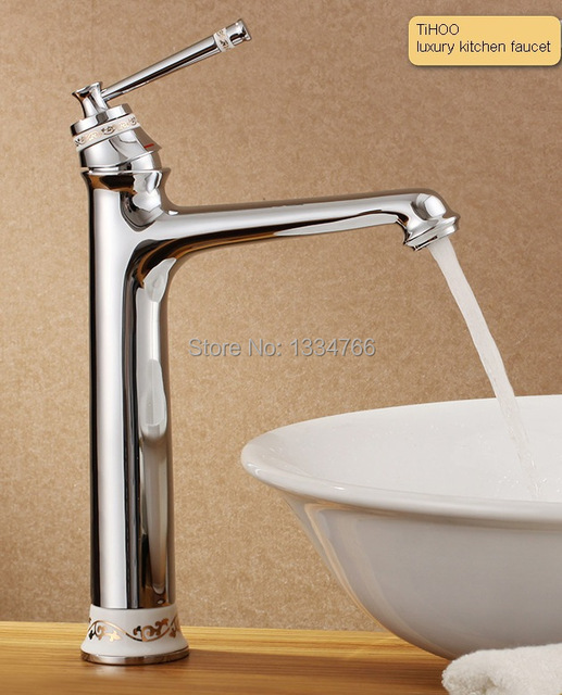 Delicieux Solid Brass Bathroom Basin Faucets High Luxury Deck Mounted Bath Mixers  Csaptelep Ceramic Handle Faucet Laboratory