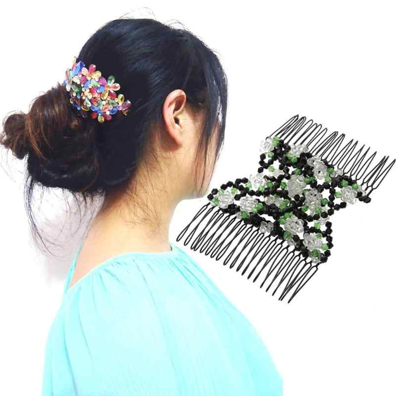 Vintage Flower Bead Hair Combs Clip Stretchy Double Magic Slide Metal Comb Clip Hairpins for Women Hair Jewellery Accessories