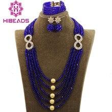 Fashion Nigerian Wedding African Beads Jewellery Set Crystal Statement Necklace Set Nigerian Brides QW1114