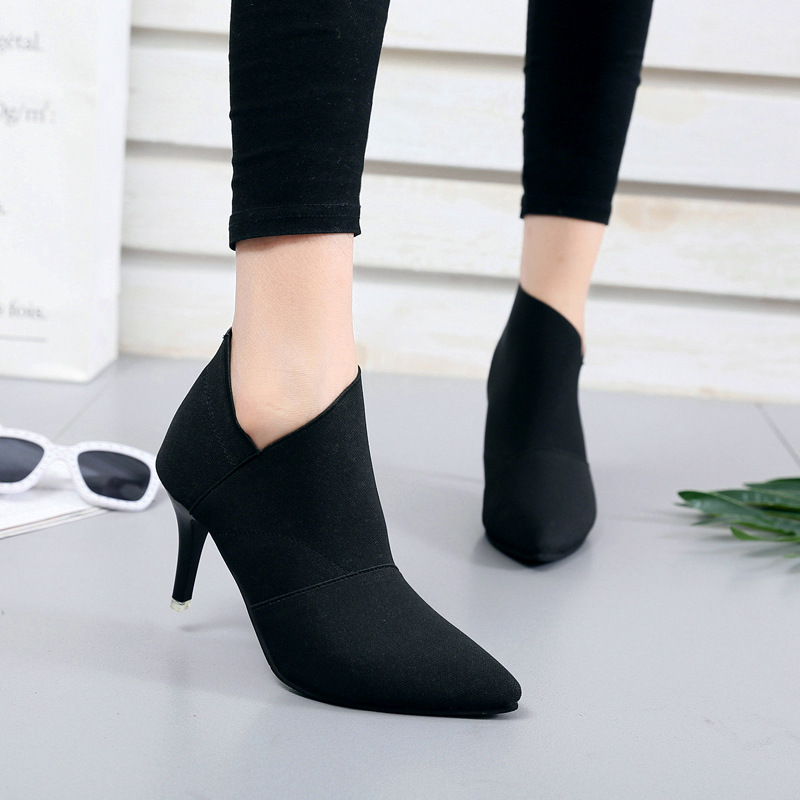 Women High Heel Ankle Boots Spring Summer Pointed Toe Slip on Shoes Ladies Fashion Thin Heel Casual Elegant Boots DTT609 cresfimix women cute spring summer slip on flat shoes with pearl female casual street flats lady fashion pointed toe shoes