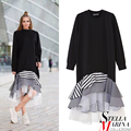 New 2017 European Fashion Women Black Casual Dress Long Sleeve Layered Striped Silhouette With Mesh Ukraine Stylish Dress 2048