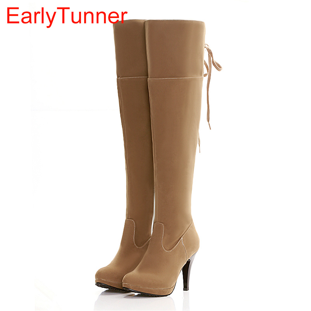 New Sales Sexy Black Apricot Brown Women Over the Knee Thigh High Boots Ladies Shoes AQ201 High Heels Plus Big size 12 43 47 new winter women over the knee thigh high boots sweet black brown ladies shoes a181h plus big size 45 10 11 warm fur