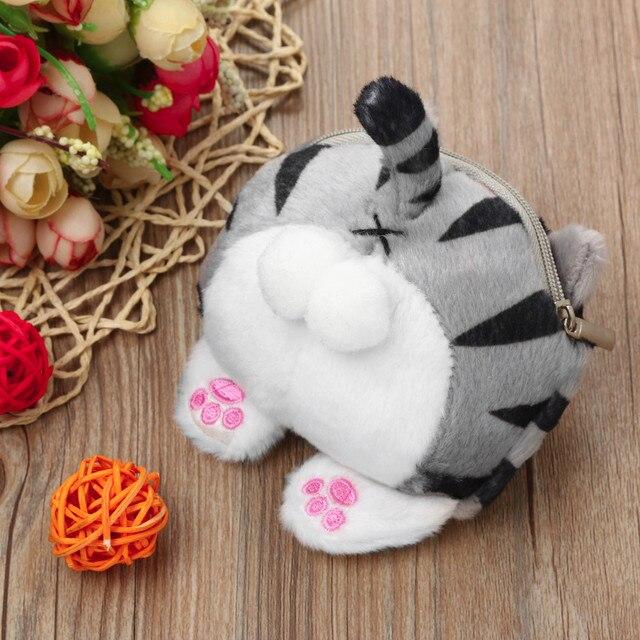 8255d5a18e4 Girls Velour Cute Coin Purse Cat Butt Tail Plush Change Bag Mini Wallet  Women Kawaii Phone Bag mochilas infantiles