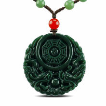 KYSZDL Natural Hetian yu stone hand-carved dragon eight trigrams pendant necklace men&women yu stone pendant jewelry free rope(China)
