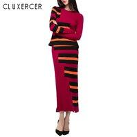 2 Piece Set Women Dress 2018 Autumn Winter Knitted Long Sleeve Top Sweater and High Waist Skirt Women Suits Set 2 Pieces Clothes