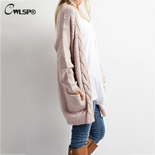 Casual Long Sleeve Autumn Women Long Sweater Open Stitch Solid Cardigan Sweater