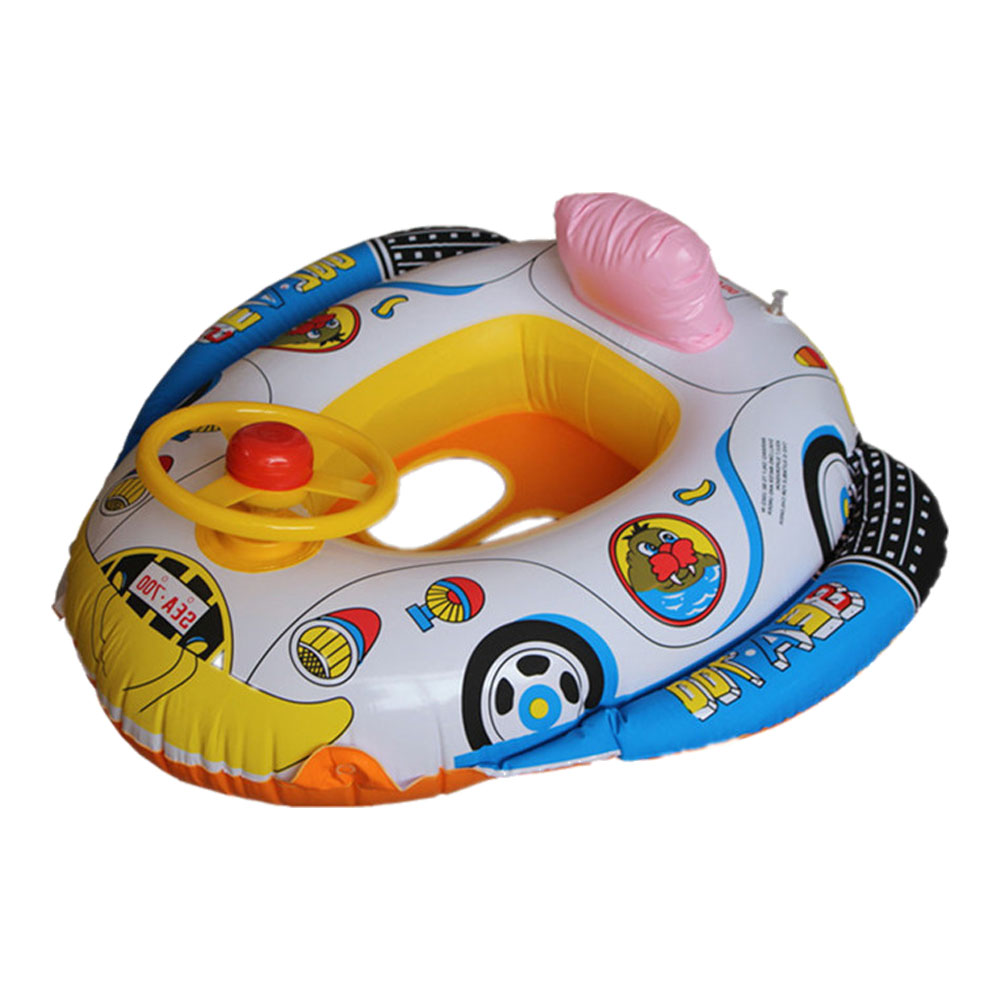 Cartoon Baby Inflatable Swimming Car Seat Ring Pool Float Boat with ...