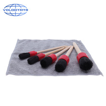 Car Cleaning Kit with 5pcs Detail Brush and 1pcs Microfiber Towel for Leather Air Vents Emblems Rims Wheel Detailing Auto lucullan chemical resistant detailing brush for interior vents seams buttons exterior wheels window tracks grills emblems