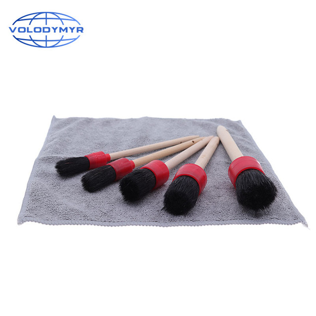 Car Cleaning Kit with 5pcs Detail Brush and 1pcs Microfiber Towel for Leather Air Vents Emblems Rims Wheel Detailing Auto