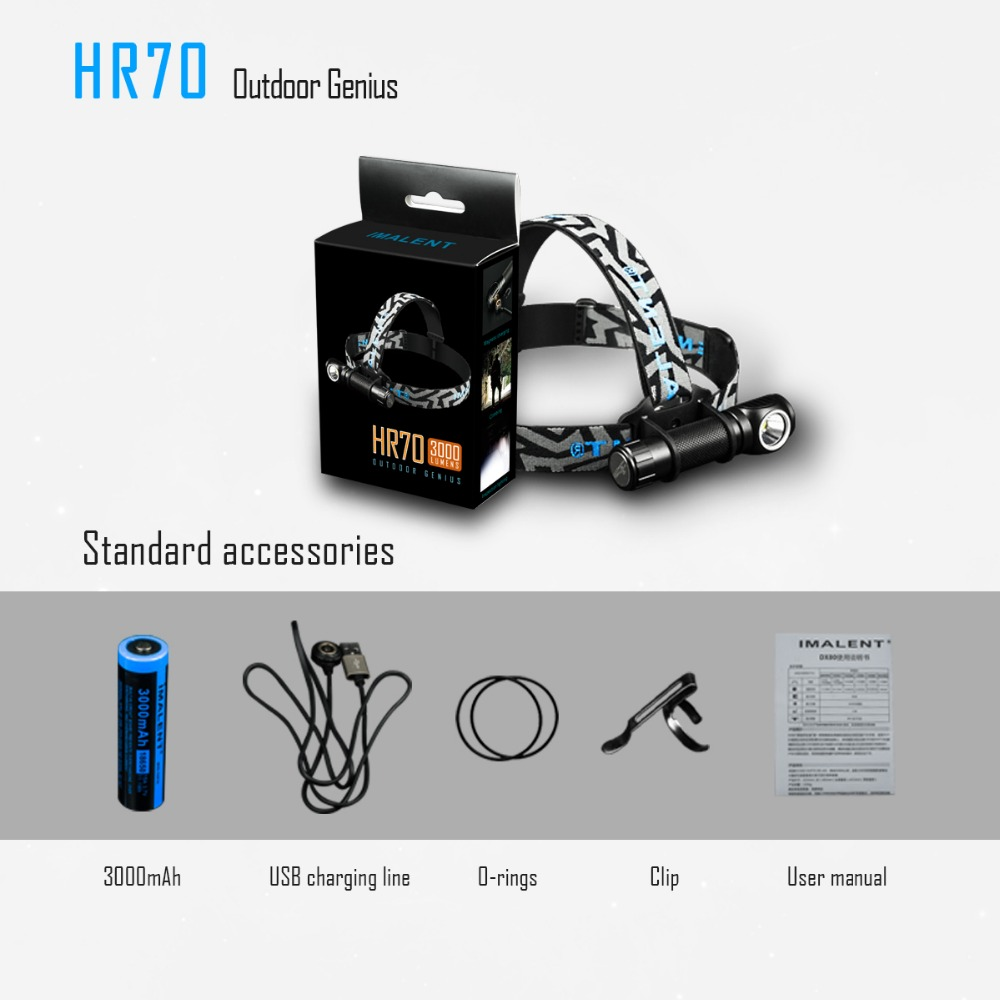1PC best price IMALENT HR70 LED flashlight CREE XHP70 Headlight 3000lm rechargeable headlights with 18650 3000 mAh battery US in Headlamps from Lights Lighting