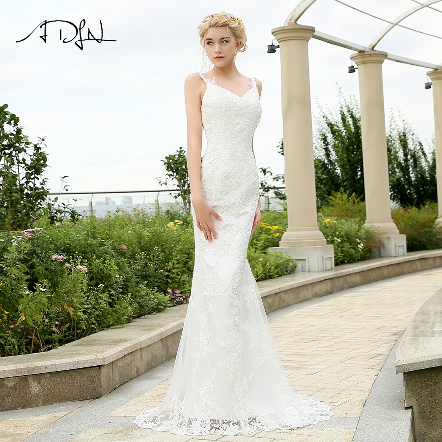Lace Mermaid Wedding Gown With Straps: ADLN Sexy Wedding Dress Spaghetti Straps Deep V Neck Lace