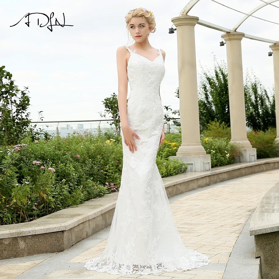 ADLN Sexy Wedding Dress Spaghetti Straps Deep V Neck Lace