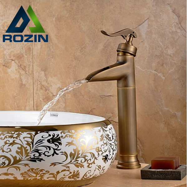 Deck Mounted Waterfall Spout Basin Faucets Antique Brass Finished Single Handle Countertop Bathroom Mixer Taps