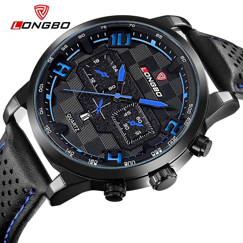 Sport Watch Men 2017 New Fashion LONGBO Branded Military Multi-function Quartz Watch with Calendar Waterproof Male Clock montres