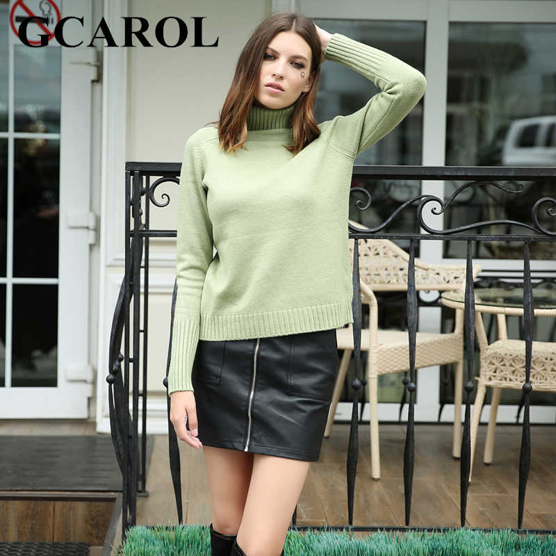 GCAROL New Arrival Fall  Winter Thick Women Turtleneck Sweater Stretch High Street Knit Pullover Basic Render Tops Knitwear