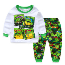 Kids Winter Pajamas Turtle Ninja Set 100% Cotton Baby Boys Cartoon Nightwear Children Clothing Toddler Long Sleeve Sleepwear